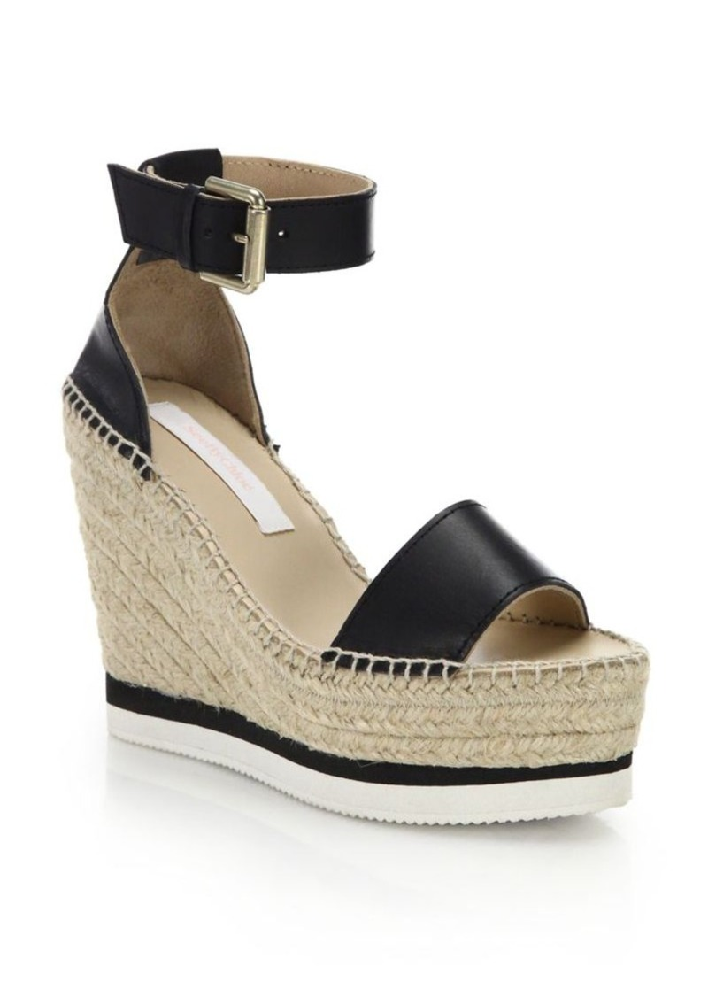 4972445780422 See by Chloé Glyn Leather Espadrille Wedge Platform Sandals