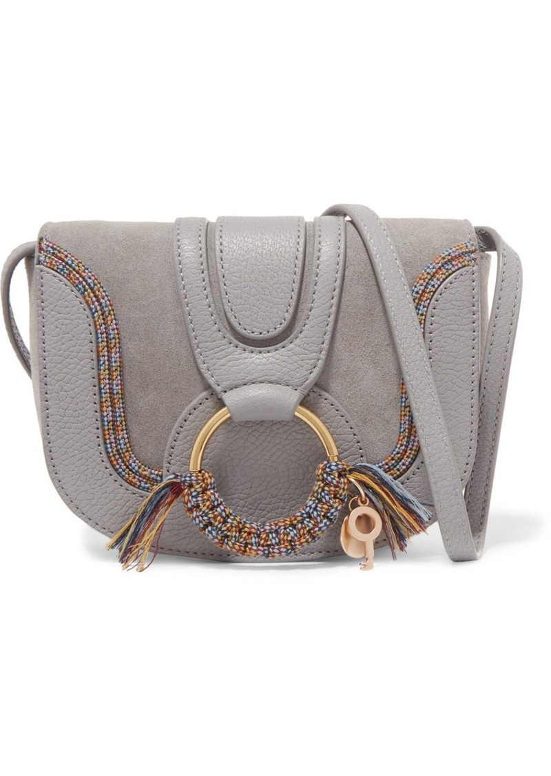 3bb6fbba Hana mini textured-leather and suede shoulder bag