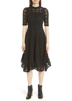 See by Chloé Handkerchief Hem Crochet Midi Dress