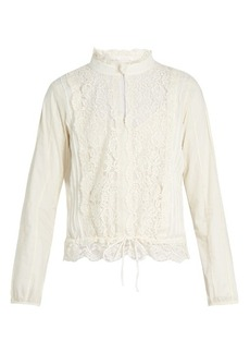 See By Chloé High-neck lace-insert blouse