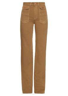 See By Chloé High-rise flared cotton-canvas trousers