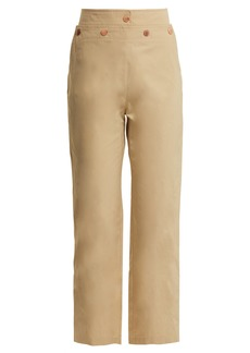 See By Chloé High-rise lace-up cotton-blend trousers