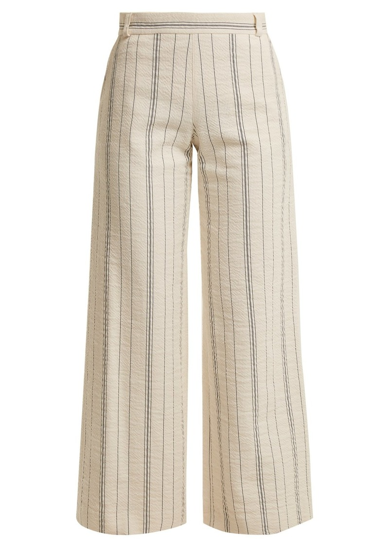 See By Chloé High-rise striped cotton-blend trousers