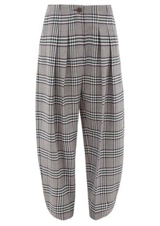 See By Chloé High-waist tapered checked-twill trousers