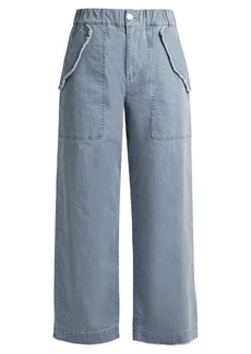 See By Chloé High-waisted wide-leg cotton-blend trousers