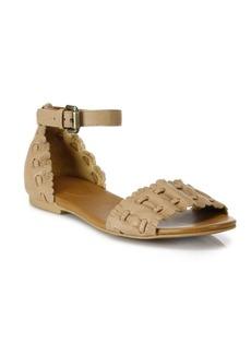 See by Chloé Jane Whipstitch Leather Ankle-Strap Sandals