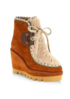 See by Chloé Klaudia Shearling & Suede Wedge Booties
