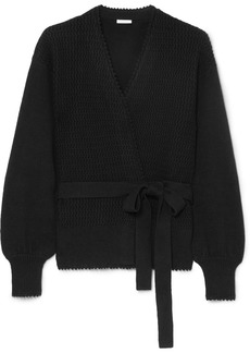See by Chloé Knitted cotton and linen-blend wrap cardigan