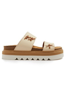 See By Chloé Knot-detail leather flatform slides