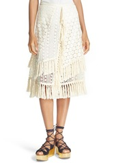 See by Chloé Lace & Fringe Skirt