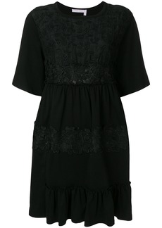 See By Chloé lace embellished short-sleeved dress - Black