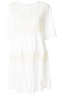 See By Chloé lace embellished short-sleeved dress - White