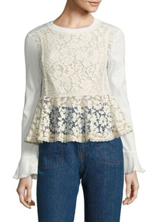 See by Chloé Lace-Front Peplum Top