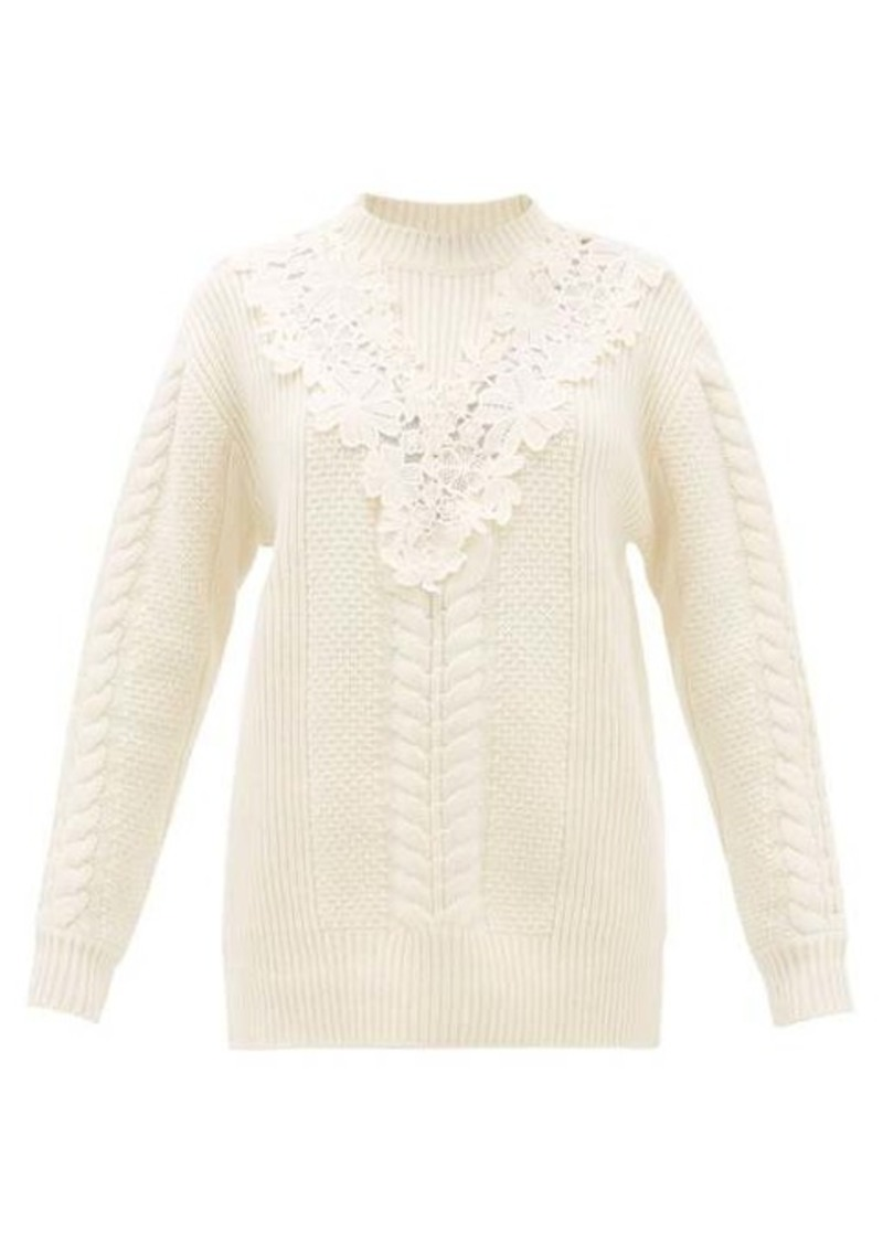 See By Chloé Lace-insert wool-blend sweater