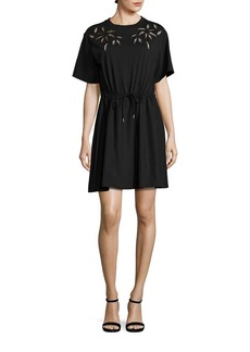 See by Chloé Lace Inset Cotton T-Shirt Dress