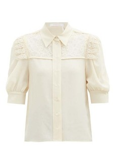 See By Chloé Lace-panelled georgette blouse