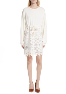 See by Chloé Lace Skirt Sweatshirt Dress