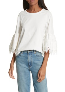 See by Chloé Lace Trim Bell Sleeve Top