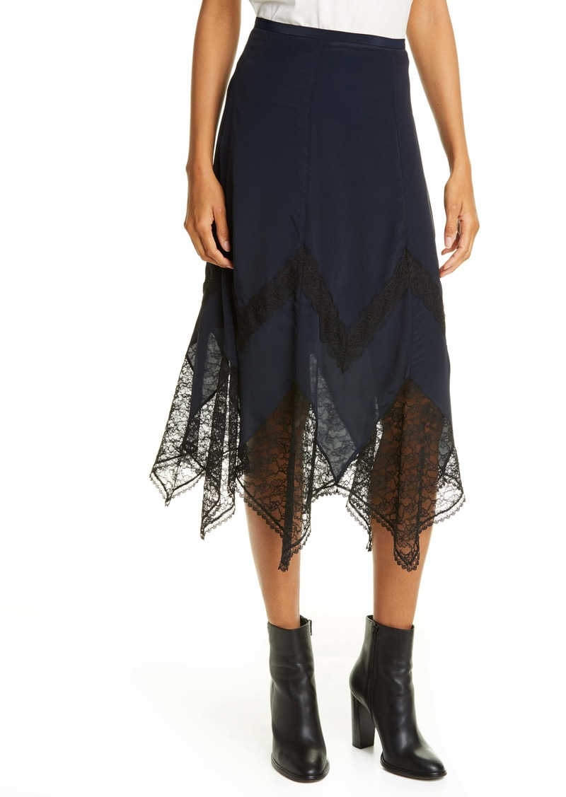 See by Chloé Lace Trim Handkerchief Hem Skirt