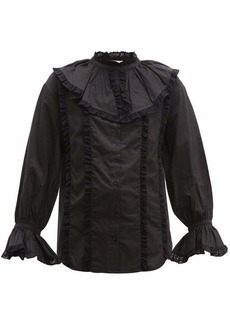 See By Chloé Lace-trim ruffled cotton-voile blouse