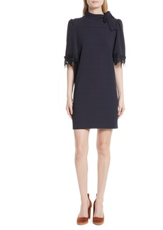 See by Chloé Lace Trim Tie Neck Dress