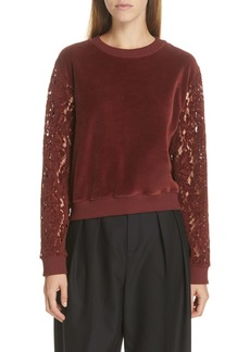 See by Chloé Lace Trim Velour Sweatshirt