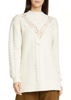 See by Chloé Lace Trim Wool Blend Sweater