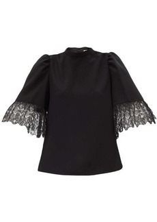 See By Chloé Lace-trimmed bell-sleeved crepe blouse