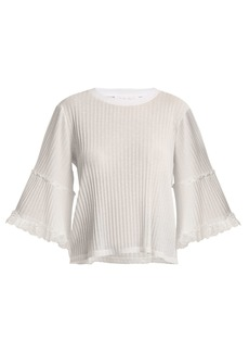 See By Chloé Lace-trimmed ribbed-jersey top