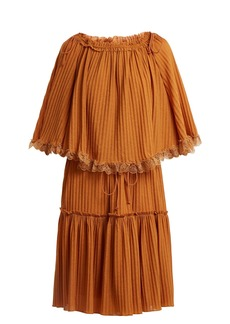 See By Chloé Lace-trimmed ribbed-knit dress