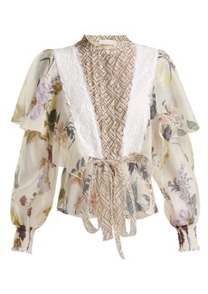 See By Chloé Lace-trimmed ruffle-panel floral blouse