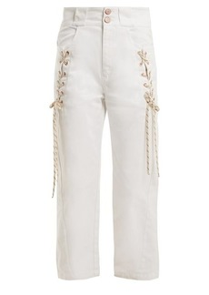 See By Chloé Lace-up cropped denim jeans