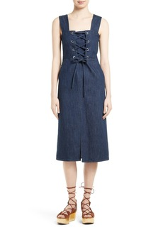 See by Chloé Lace-Up Denim Dress