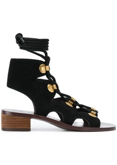 See By Chloé lace-up sandal booties - Black