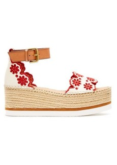 See By Chloé Laser-cut leather flatform espadrilles