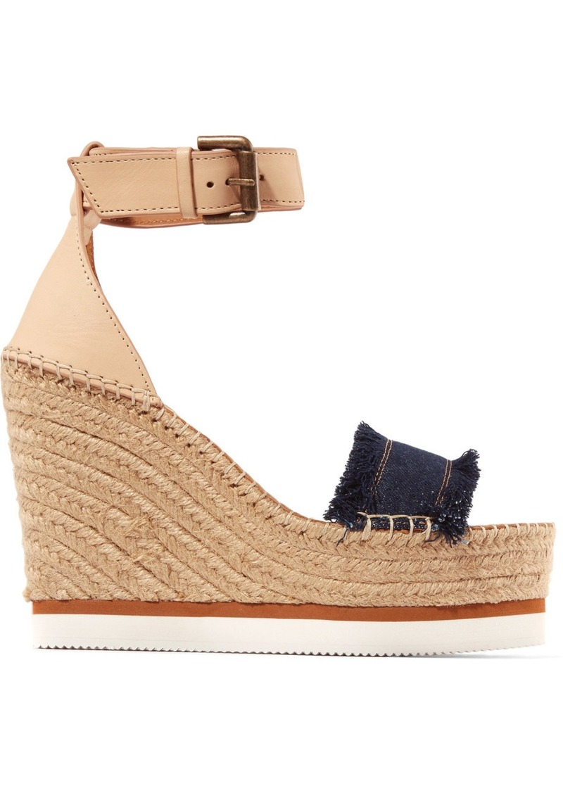 ce078090d21 See by Chloé Leather and denim espadrille wedge sandals