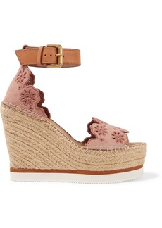 See by Chloé Leather and embroidered suede espadrille wedge sandals