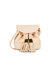 See by Chloé Vicki Pebble Leather Flap Bucket Bag