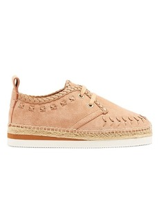 See By Chloé Leather-embroidered suede espadrilles