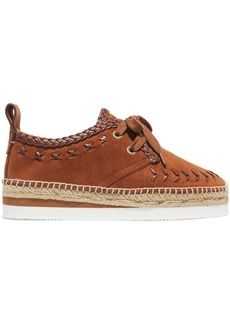 See by Chloé Leather-trimmed suede espadrille platform sneakers
