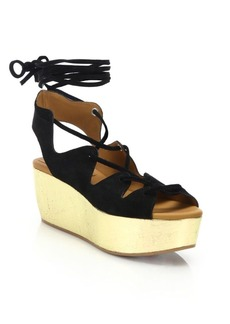 See by Chloé Liana Suede Lace-Up Platform Wedge Sandals