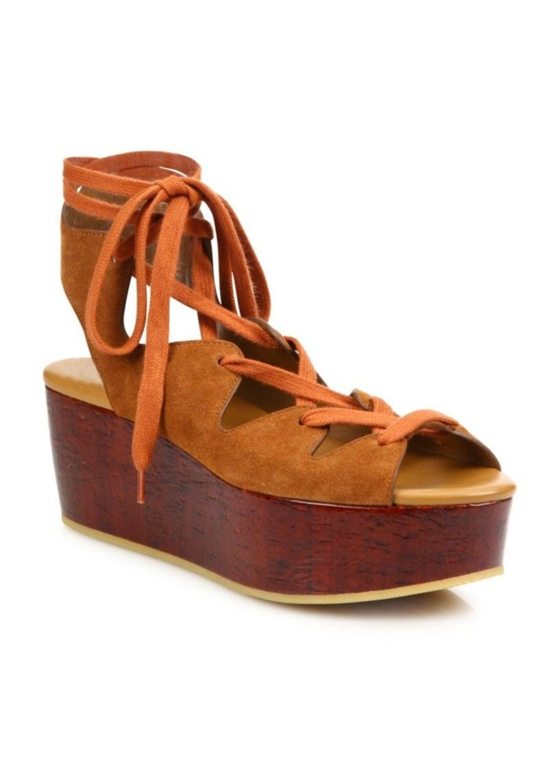 4de3ea6483b See by Chloé See by Chloé Liana Suede Lace-Up Wedge Platform Sandals