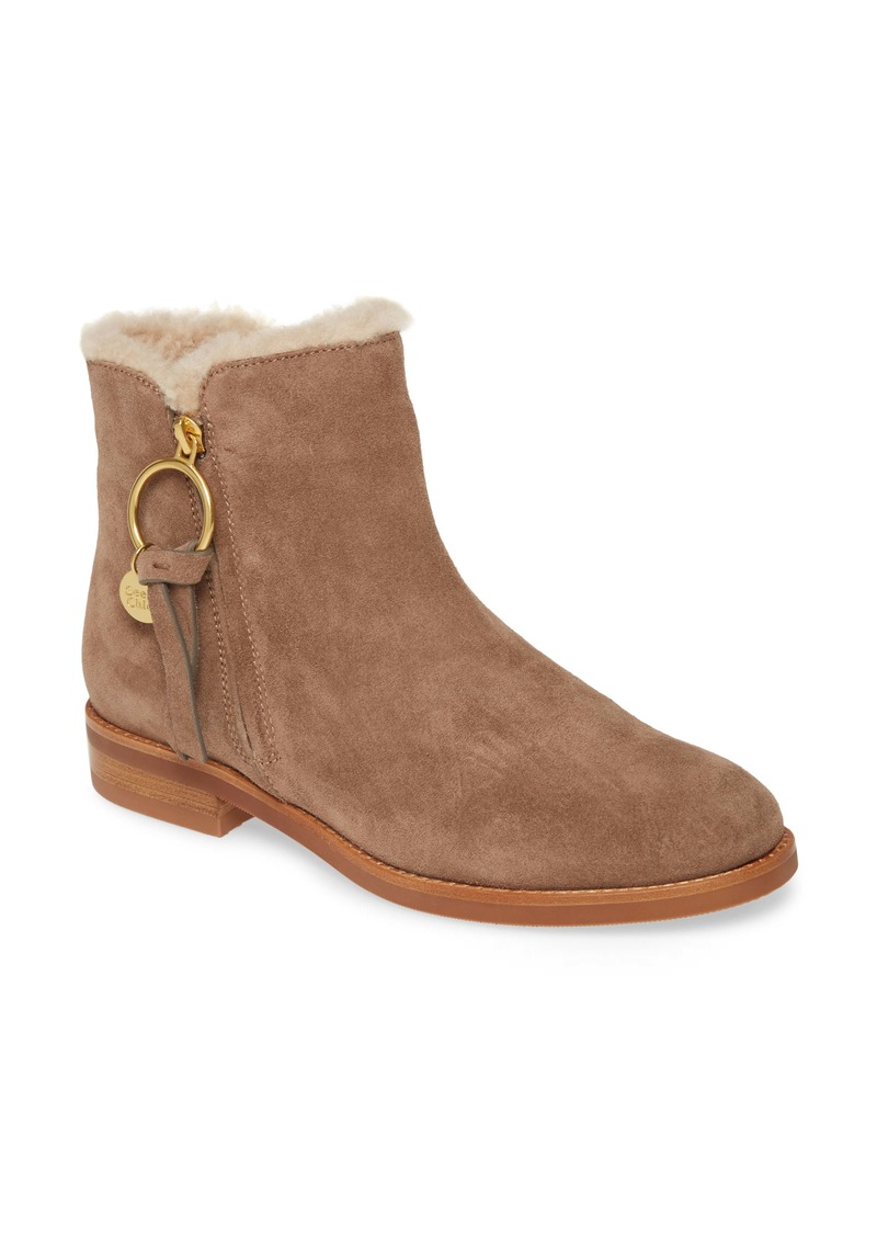 See by Chloé Louise Genuine Shearling Lined Flat Bootie (Women)