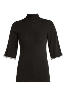 See By Chloé Metallic-trim short-sleeved wool sweater