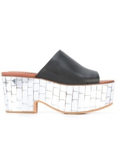 See by Chloé mirrored platform mules