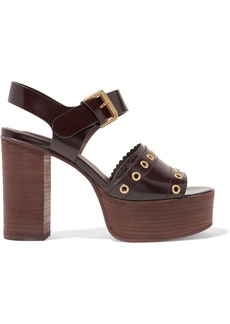 See by Chloé Nora eyelet-embellished glossed-leather platform sandals