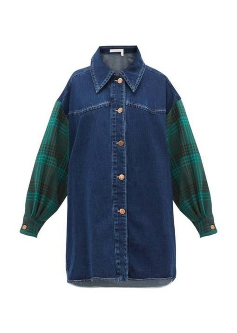See By Chloé Oversized checked-sleeve denim shirt