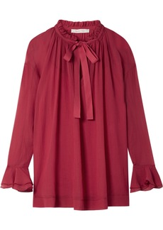 See by Chloé Oversized ruffled cotton and silk-blend crepon blouse