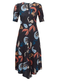 See By Chloé Paisley-print dipped-hem crepe dress