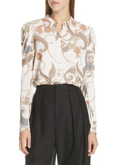 See by Chloé Paisley Puff Sleeve Blouse